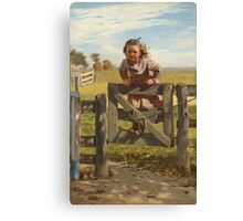 John George Brown - Swinging On A Gate. Female child portrait: cute girl, girly, female, pretty angel, child, beautiful dress, face with hairs, smile, little, kids, baby Canvas Print
