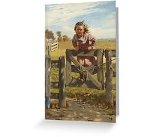 John George Brown - Swinging On A Gate. Female child portrait: cute girl, girly, female, pretty angel, child, beautiful dress, face with hairs, smile, little, kids, baby Greeting Card