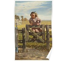 John George Brown - Swinging On A Gate. Female child portrait: cute girl, girly, female, pretty angel, child, beautiful dress, face with hairs, smile, little, kids, baby Poster