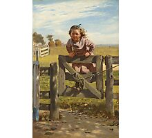 John George Brown - Swinging On A Gate. Female child portrait: cute girl, girly, female, pretty angel, child, beautiful dress, face with hairs, smile, little, kids, baby Photographic Print
