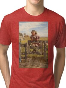 John George Brown - Swinging On A Gate. Female child portrait: cute girl, girly, female, pretty angel, child, beautiful dress, face with hairs, smile, little, kids, baby Tri-blend T-Shirt