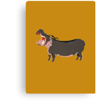 Hipster Hippo (Tan Background) Canvas Print