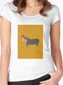 Hipster Hippo (Tan Background) Women's Fitted Scoop T-Shirt