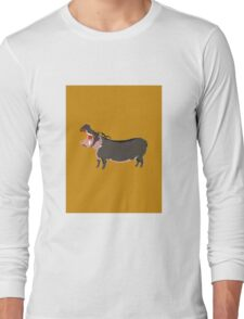 Hipster Hippo (Tan Background) Long Sleeve T-Shirt