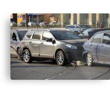 accident involving three  cars  Metal Print