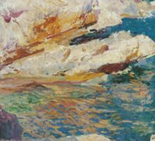 Joaquin Sorolla Y Bastida - Rocks At Javea. The White Boat 1905. Mountains landscape: mountains, rocks, rocky nature, sky and clouds, Sea views, peak, forest, rustic, hill, sea, hillside Sticker