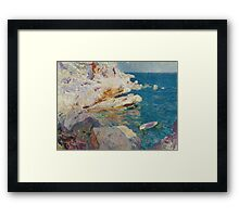 Joaquin Sorolla Y Bastida - Rocks At Javea. The White Boat 1905. Mountains landscape: mountains, rocks, rocky nature, sky and clouds, Sea views, peak, forest, rustic, hill, sea, hillside Framed Print