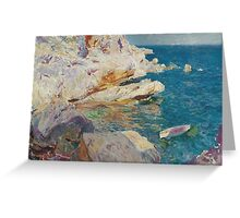 Joaquin Sorolla Y Bastida - Rocks At Javea. The White Boat 1905. Mountains landscape: mountains, rocks, rocky nature, sky and clouds, Sea views, peak, forest, rustic, hill, sea, hillside Greeting Card