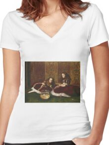 John Everett Millais - Leisure Hours. Girl portrait: cute girl, girly, female, pretty angel, child, beautiful dress, face with hairs, smile, little, kids, baby Women's Fitted V-Neck T-Shirt