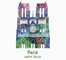 Paris Landmark Notre Dame in watercolor One Piece - Short Sleeve