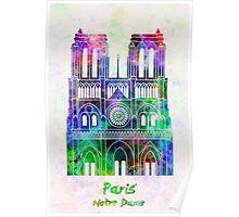 Paris Landmark Notre Dame in watercolor Poster