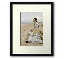 John George Brown - Waiting For William. Woman portrait: sensual woman, girly art, female style, pretty women, femine, beautiful dress, cute, creativity, love, sexy lady, erotic pose Framed Print
