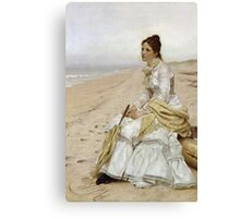 John George Brown - Waiting For William. Woman portrait: sensual woman, girly art, female style, pretty women, femine, beautiful dress, cute, creativity, love, sexy lady, erotic pose Canvas Print