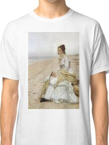 John George Brown - Waiting For William. Woman portrait: sensual woman, girly art, female style, pretty women, femine, beautiful dress, cute, creativity, love, sexy lady, erotic pose Classic T-Shirt