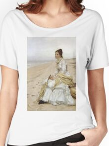 John George Brown - Waiting For William. Woman portrait: sensual woman, girly art, female style, pretty women, femine, beautiful dress, cute, creativity, love, sexy lady, erotic pose Women's Relaxed Fit T-Shirt