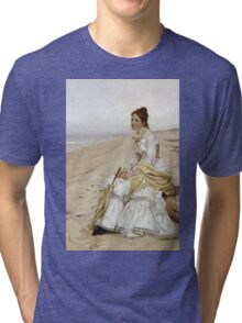 John George Brown - Waiting For William. Woman portrait: sensual woman, girly art, female style, pretty women, femine, beautiful dress, cute, creativity, love, sexy lady, erotic pose Tri-blend T-Shirt
