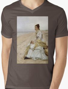 John George Brown - Waiting For William. Woman portrait: sensual woman, girly art, female style, pretty women, femine, beautiful dress, cute, creativity, love, sexy lady, erotic pose Mens V-Neck T-Shirt