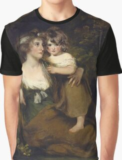 John Hoppner - The Countess Of Darnley And Her Daughter, Lady Elizabeth Bligh  1795. Mother with kid portrait: cute girl, mother and daughter, female, pretty angel, child, beautiful lovely family Graphic T-Shirt