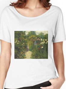 John Leslie Breck - Garden At Giverny (In Monet S Garden). Garden landscape: garden view, trees and flowers, blossom, nature, botanical park, floral flora, wonderful flowers, garden, flower Women's Relaxed Fit T-Shirt