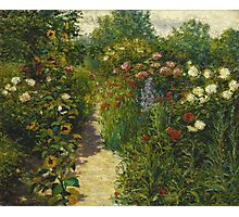 John Leslie Breck - Garden At Giverny (In Monet S Garden). Garden landscape: garden view, trees and flowers, blossom, nature, botanical park, floral flora, wonderful flowers, garden, flower Photographic Print