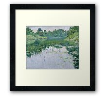 John Leslie Breck - Grey Day On The Charles. Lake landscape: trees, river, land, forest, coast seaside, waves and beach, marine naval navy, lagoon reflection, sun and clouds, nautical panorama, lake Framed Print