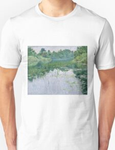 John Leslie Breck - Grey Day On The Charles. Lake landscape: trees, river, land, forest, coast seaside, waves and beach, marine naval navy, lagoon reflection, sun and clouds, nautical panorama, lake Unisex T-Shirt