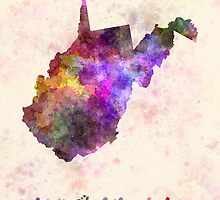 West Virginia US state in watercolor by paulrommer