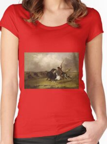John Mix Stanley - Buffalo Hunt On The Southwestern Prairies. Hunter painting: hunting man, nature, male, forest, wild life, masculine, dogs, hunt, manly, hunters men, hunter Women's Fitted Scoop T-Shirt