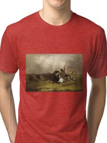 John Mix Stanley - Buffalo Hunt On The Southwestern Prairies. Hunter painting: hunting man, nature, male, forest, wild life, masculine, dogs, hunt, manly, hunters men, hunter Tri-blend T-Shirt