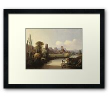 John Mix Stanley - Chain Of Spires Along The Gila River. River landscape: trees, beach, bridge, riverside, waves and beach, marine naval, yachts and ships, sun and clouds, nautical panorama, lake Framed Print