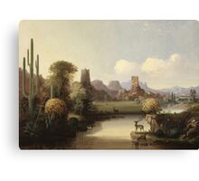 John Mix Stanley - Chain Of Spires Along The Gila River. River landscape: trees, beach, bridge, riverside, waves and beach, marine naval, yachts and ships, sun and clouds, nautical panorama, lake Canvas Print