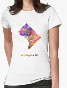 Washington DC US state in watercolor Womens Fitted T-Shirt