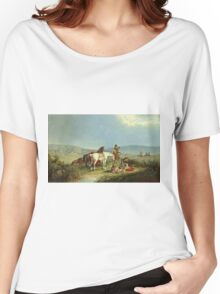 John Mix Stanley - Indians Playing Cards. People portrait: party, woman and man, people, family, female and male, peasants, crowd, romance, women and men, city, home society Women's Relaxed Fit T-Shirt