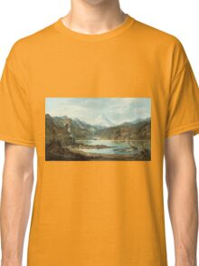 John Mix Stanley - Mountain Landscape With Indians. Mountains landscape: mountains, rocks, rocky nature, sky and clouds, trees, peak, forest, rustic, hill, travel, hillside Classic T-Shirt