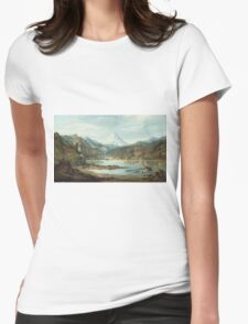 John Mix Stanley - Mountain Landscape With Indians. Mountains landscape: mountains, rocks, rocky nature, sky and clouds, trees, peak, forest, rustic, hill, travel, hillside Womens Fitted T-Shirt