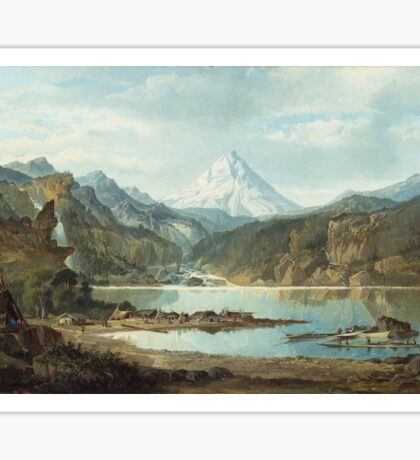 John Mix Stanley - Mountain Landscape With Indians. Mountains landscape: mountains, rocks, rocky nature, sky and clouds, trees, peak, forest, rustic, hill, travel, hillside Sticker