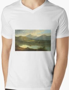 John Mix Stanley - Western Landscape. Lake landscape: trees, river, land, forest, coast seaside, waves and beach, marine naval navy, lagoon reflection, sun and clouds, nautical panorama, lake Mens V-Neck T-Shirt