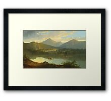 John Mix Stanley - Western Landscape. Lake landscape: trees, river, land, forest, coast seaside, waves and beach, marine naval navy, lagoon reflection, sun and clouds, nautical panorama, lake Framed Print