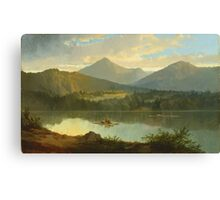 John Mix Stanley - Western Landscape. Lake landscape: trees, river, land, forest, coast seaside, waves and beach, marine naval navy, lagoon reflection, sun and clouds, nautical panorama, lake Canvas Print