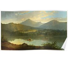 John Mix Stanley - Western Landscape. Lake landscape: trees, river, land, forest, coast seaside, waves and beach, marine naval navy, lagoon reflection, sun and clouds, nautical panorama, lake Poster