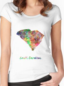 South Carolina US state in watercolor Women's Fitted Scoop T-Shirt