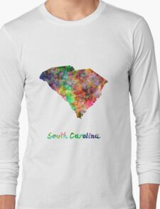 South Carolina US state in watercolor Long Sleeve T-Shirt