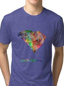 South Carolina US state in watercolor Tri-blend T-Shirt