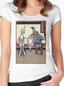 John R. Neill - Dorothy With Scarecrow And Tin Woodman. Girl portrait: cute girl, girly, female, pretty angel, child, beautiful dress, face with hairs, smile, little, kids, baby Women's Fitted Scoop T-Shirt