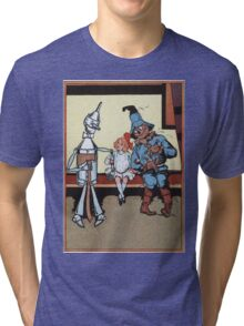 John R. Neill - Dorothy With Scarecrow And Tin Woodman. Girl portrait: cute girl, girly, female, pretty angel, child, beautiful dress, face with hairs, smile, little, kids, baby Tri-blend T-Shirt