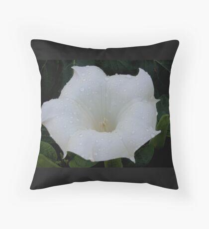 Dew On White Flower Throw Pillow