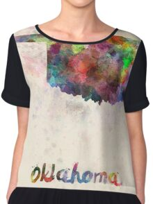 Oklahoma US state in watercolor Chiffon Top