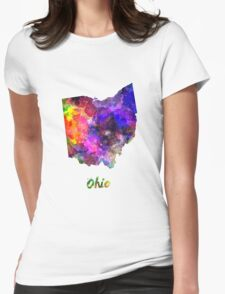 Ohio US state in watercolor Womens Fitted T-Shirt