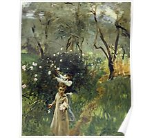 John Singer Sargent - Gathering Flowers At Twilight. Garden landscape: garden view, trees flowers, blossom, nature, botanical park, floral flora, wonderful flowers, plants, cute plant, garden, flower Poster