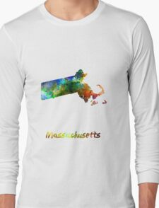 Massachusetts US state in watercolor Long Sleeve T-Shirt